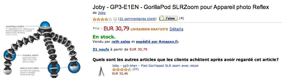 Prix Gorillapod SLR-Zoom