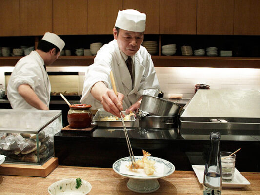 Tempura dans un restaurant à Tokyo