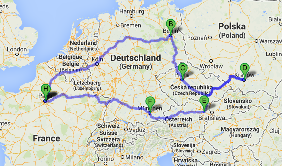 parcours roadtrip europe