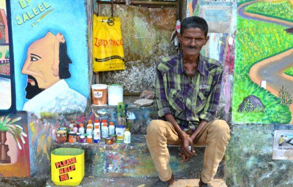 Jaleel, artiste de street art à Fort Kochi