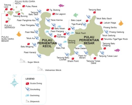 Carte snorkeling aux îles Perhentian