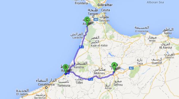 Itinéraire de ce voyage au Maroc