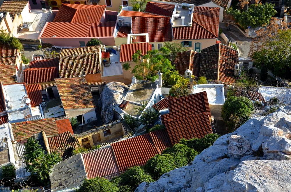 Vue sur Plaka depuis l'Acropole