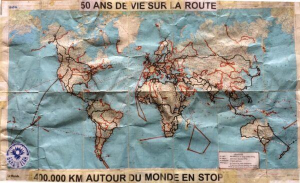 Carte des pays visités par André Brugiroux