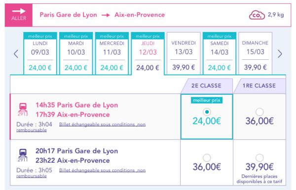 iDTGV de Paris à Aix-en-Provence