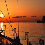 Coucher de soleil depuis le voilier à Lisbonne