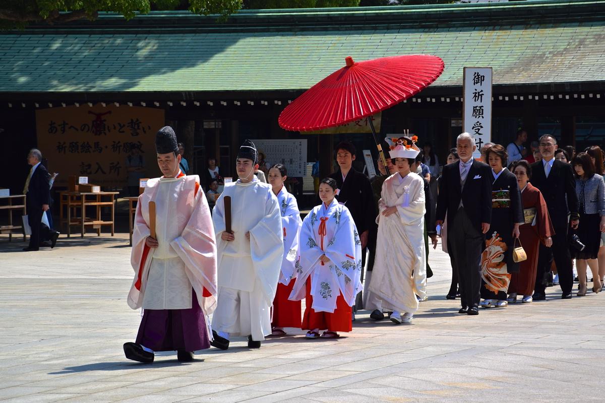 Mariage shinto au sanctuaire Meiji (Meiji jingu)