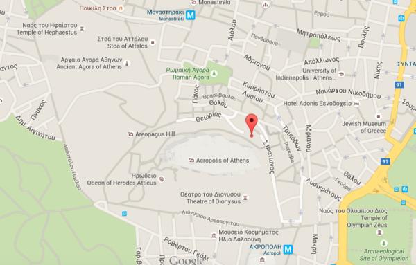 Carte du quartier d'Anafiótika à Athènes