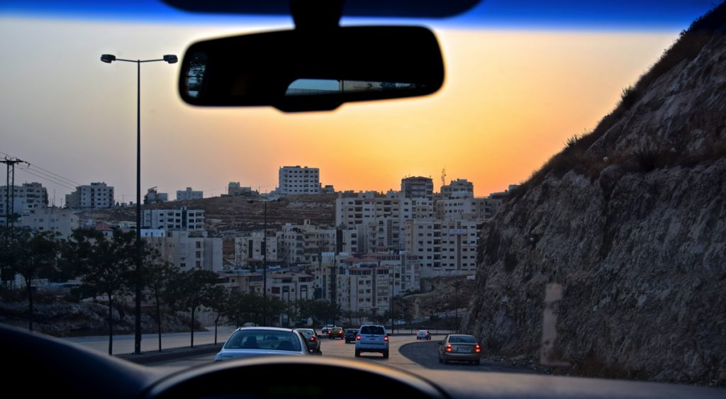 Sunset en voiture à Amman