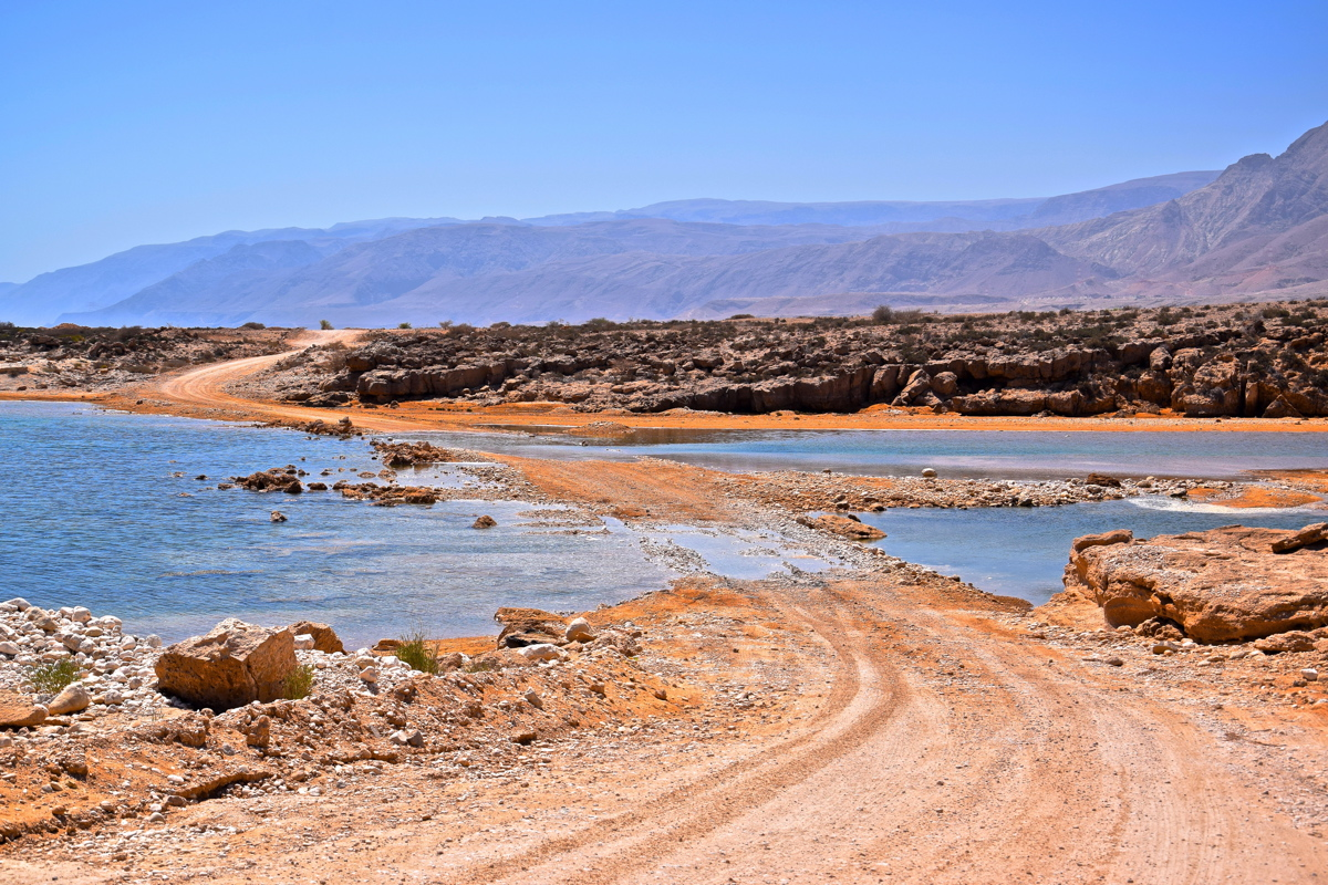 Dirty road near Tiwi, Oman