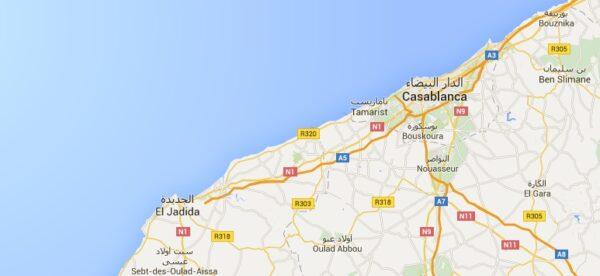 Carte d'El Jadida au Maroc
