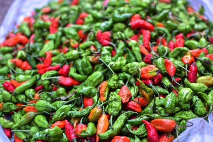 Piments sur un marché de Birmanie