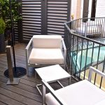 Terrasse de la chambre à l'hôtel Félicien
