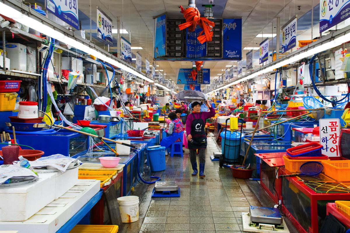 Marché aux poissons de Jagalchi à Busan