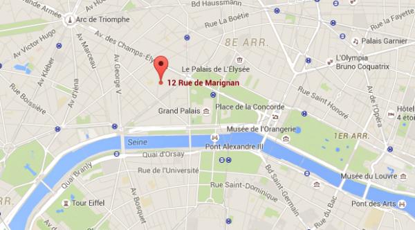 Carte hôtel Marignan Elysées - Paris