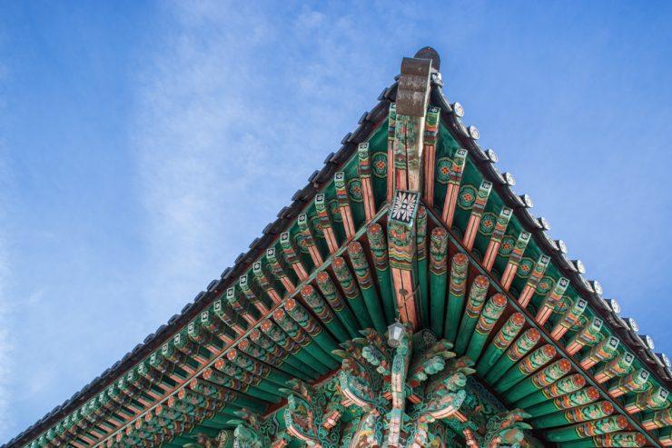 L'un des toits du temple Haeinsa