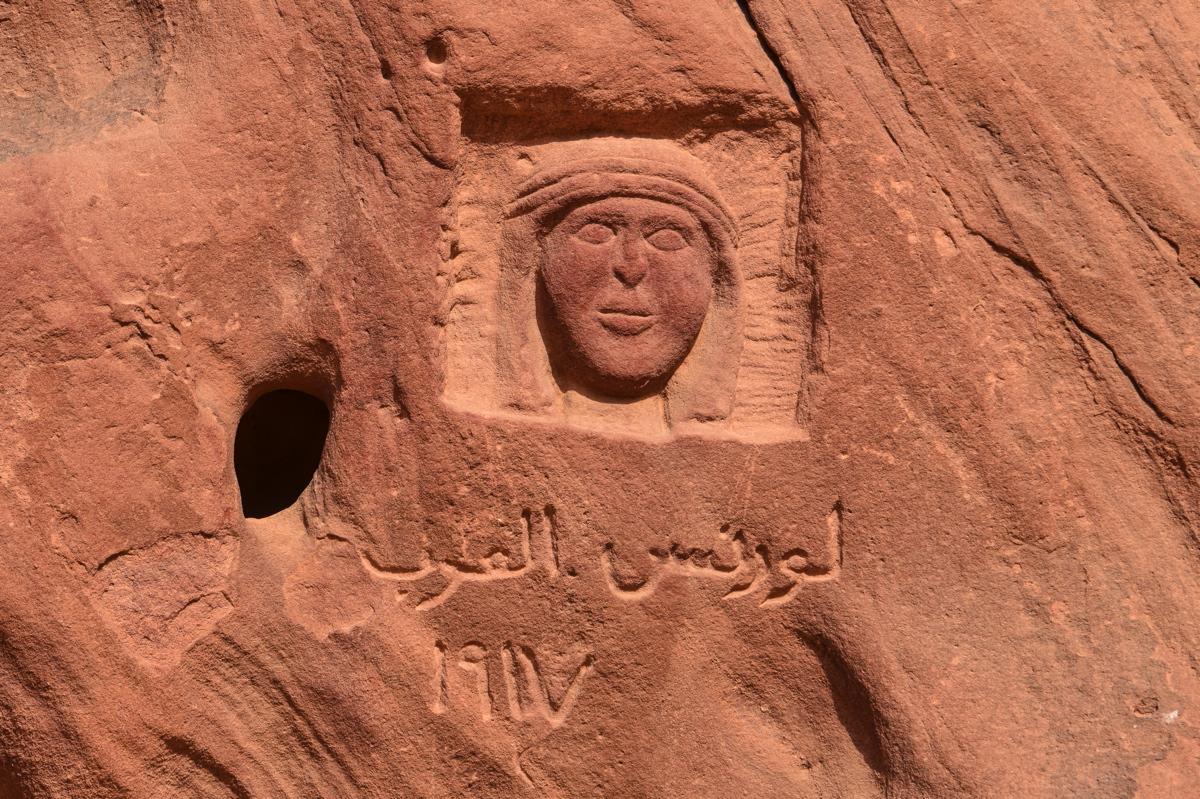 Figure de Lawrence d'Arabie dans le Wadi Rum