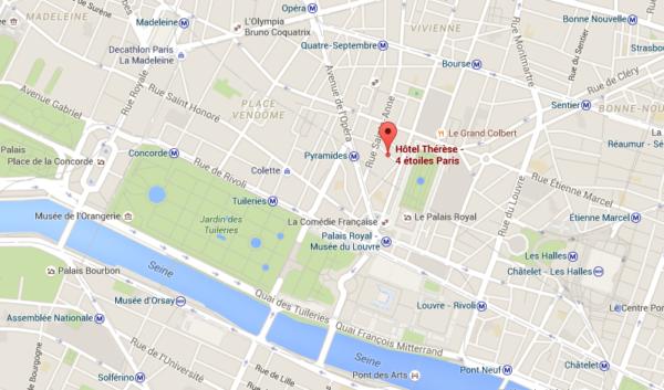 Plan hôtel Thérèse à Paris