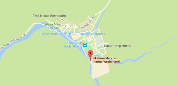 Plan d'accès à l'hôtel Inkaterra Machu Picchu Pueblo