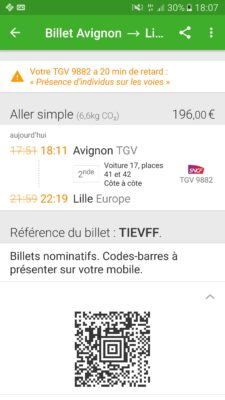 eBillet avec l'app Captain Train