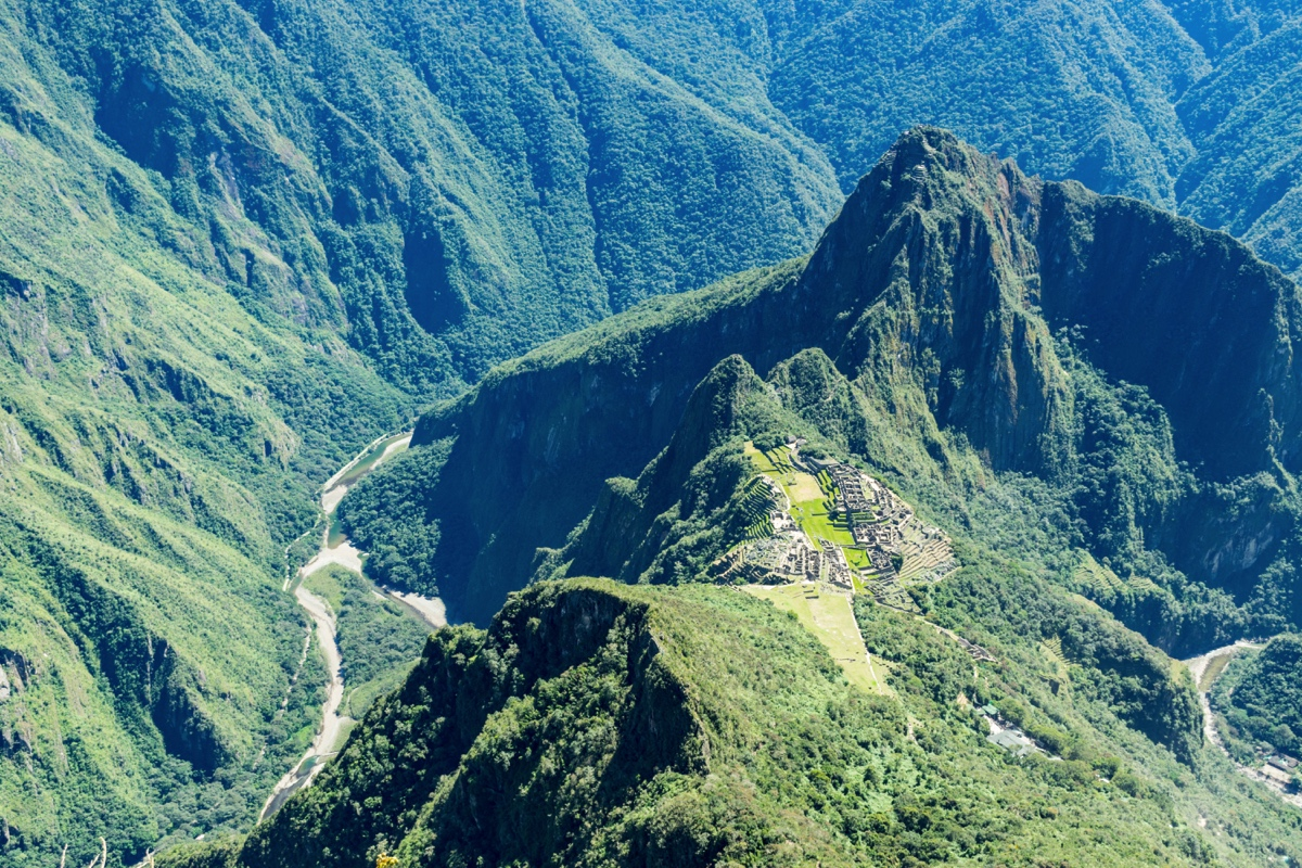 Panorama depuis le sommet de la montagne Machu Picchu