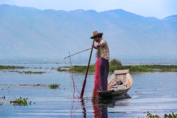 Pêche au filet sur le lac Inle