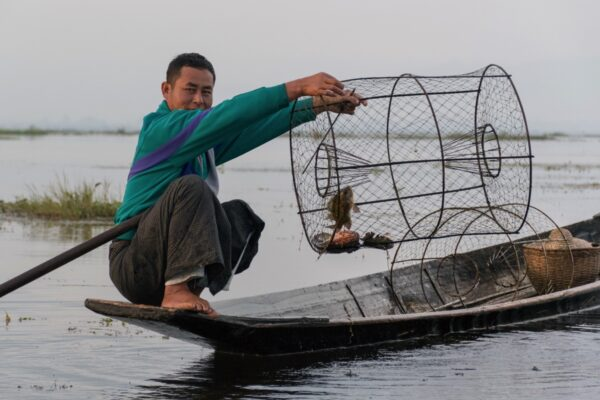 Pêche à la nasse sur le lac Inle