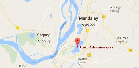 Carte du pont U Bein près de Mandalay en Birmanie