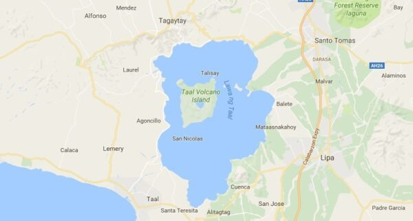 Carte du volcan Taal aux Philippines