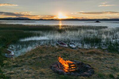Coucher de soleil au lac Titicaca