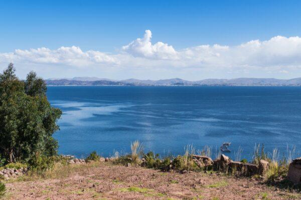 Vue au déjeuner sur l'île de Taquile