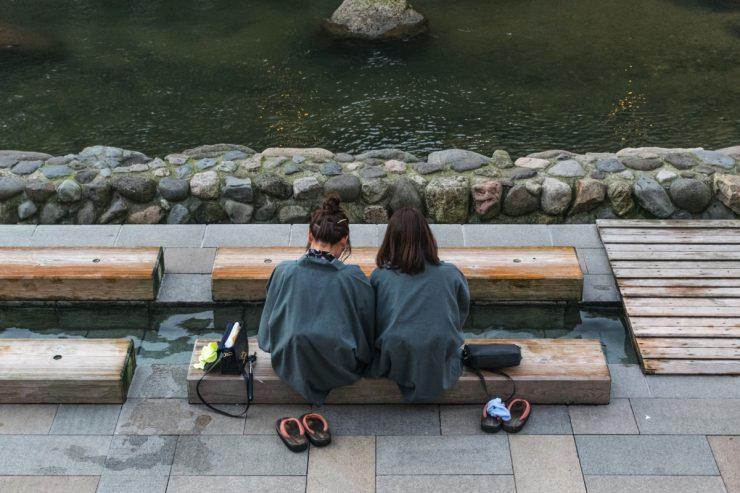 Bain de pied à Yumura Onsen