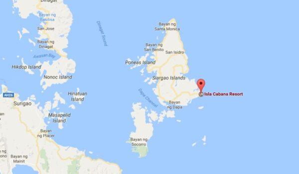 Carte Isla Cabana à Siargao aux Philippines