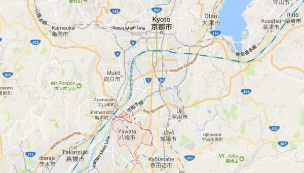 Carte de Yawata dans la préfecture de Kyoto