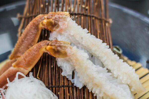 Crabe dans un repas kaiseki au ryokan Asanoya de Yumura Onsen
