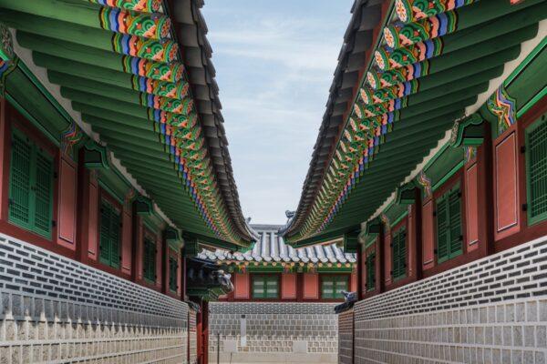 Architecture coréenne dans un palais de Séoul