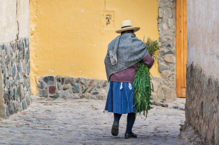 Femme dans une rue d'Ollantaytambo