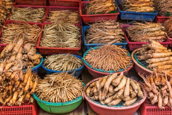 Ginseng sur un marché de Séoul