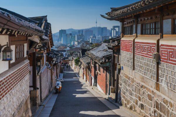 Hanok dans le quartier de Bukchon à Séoul