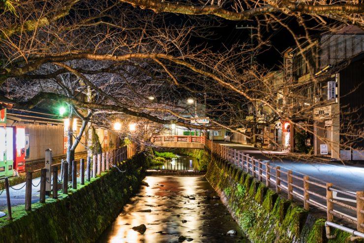 Un canal de Kinosaki, la nuit