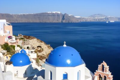 Panorama depuis Oia sur l'île de Santorin