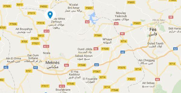 Carte de Volubilis au Maroc