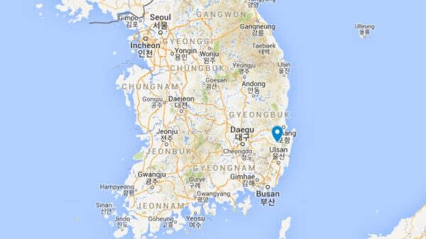 Carte de Gyeongju en Corée du Sud