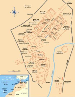 Plan du site de Volubilis au Maroc