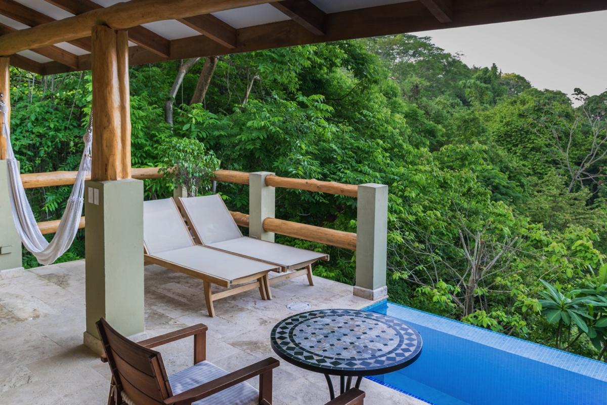 Terrasse de la chambre au Casa Chameleon