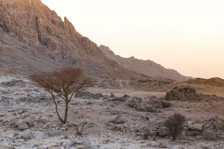 Jebel Hafeet au coucher de soleil
