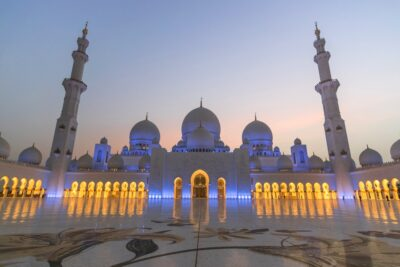 Mosquée Sheih Zayed au coucher de soleil