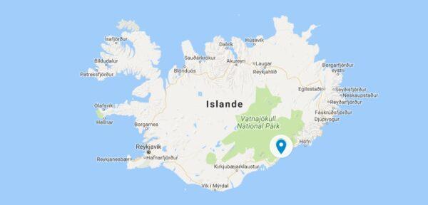 Carte de Jokulsarlon en Islande