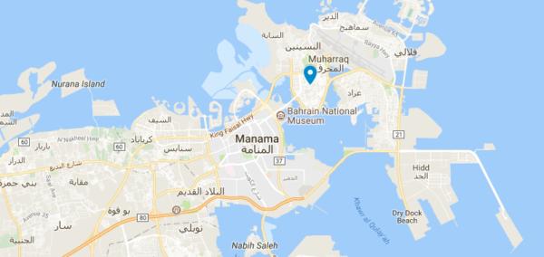 Carte de Muharraq au Bahreïn