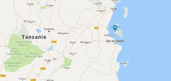 Carte de Zanzibar en Tanzanie